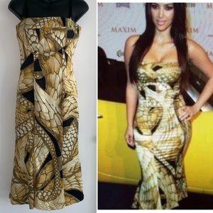 Vintage Just Cavalli gold butterfly slip dress 40